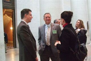 OPA members Randy and Dee Dee Myers spoke with Rep. Jeffrey McClain center at the Pharmacy Legislative Day reception.