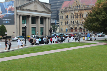 Legislative Day attendees head back from the Statehouse